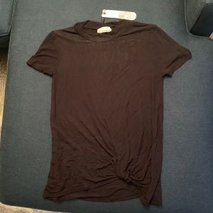 NWT: OLIVE & OAK Black Tee with Gathered Front